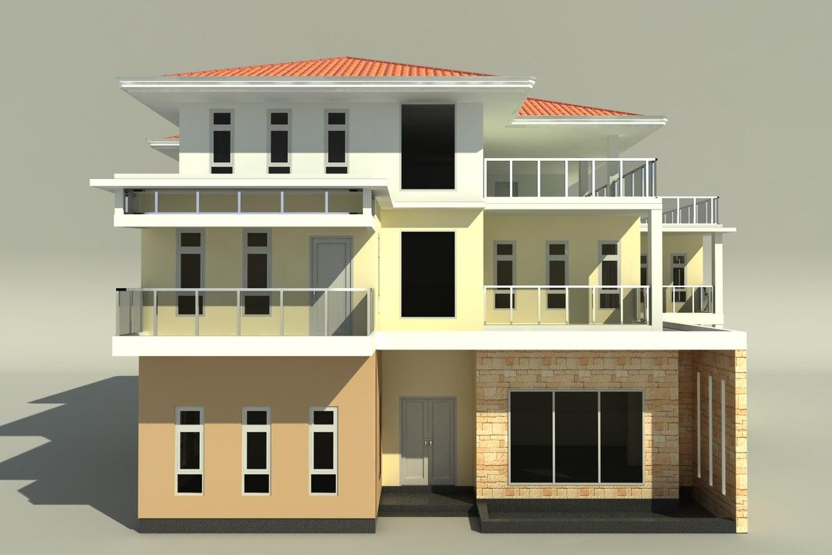 3d model of 3 storeyed big family