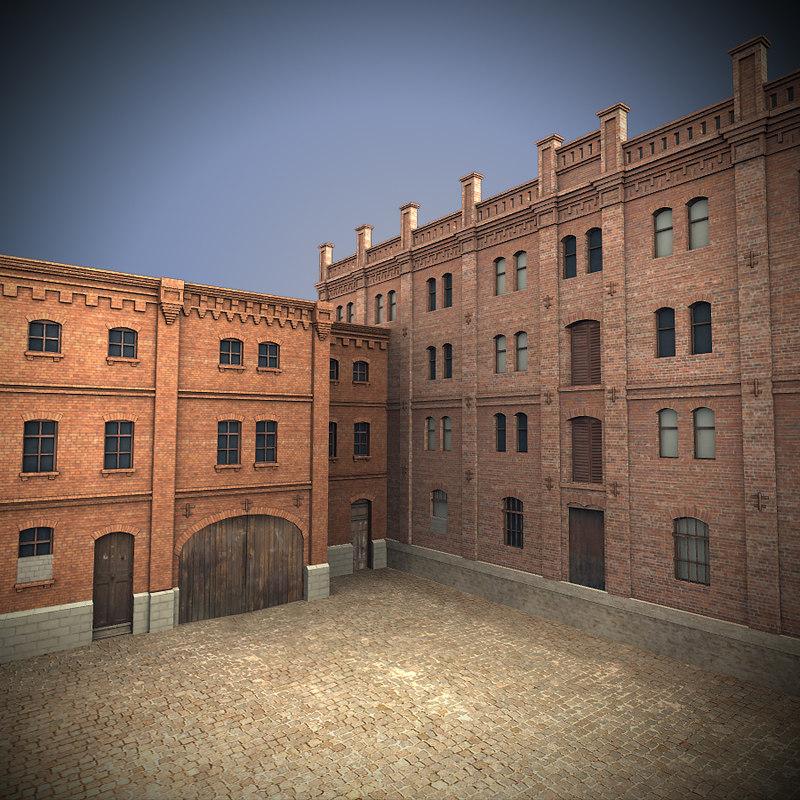 old industrial building 3d obj