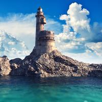 old lighthouse ocean scene 3d model