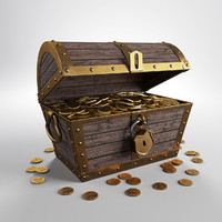3d pirate chest gold