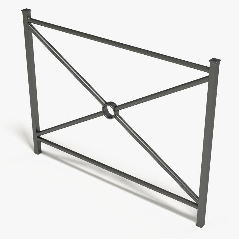 3d model street fence metal