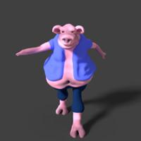 merry pig 3d blend