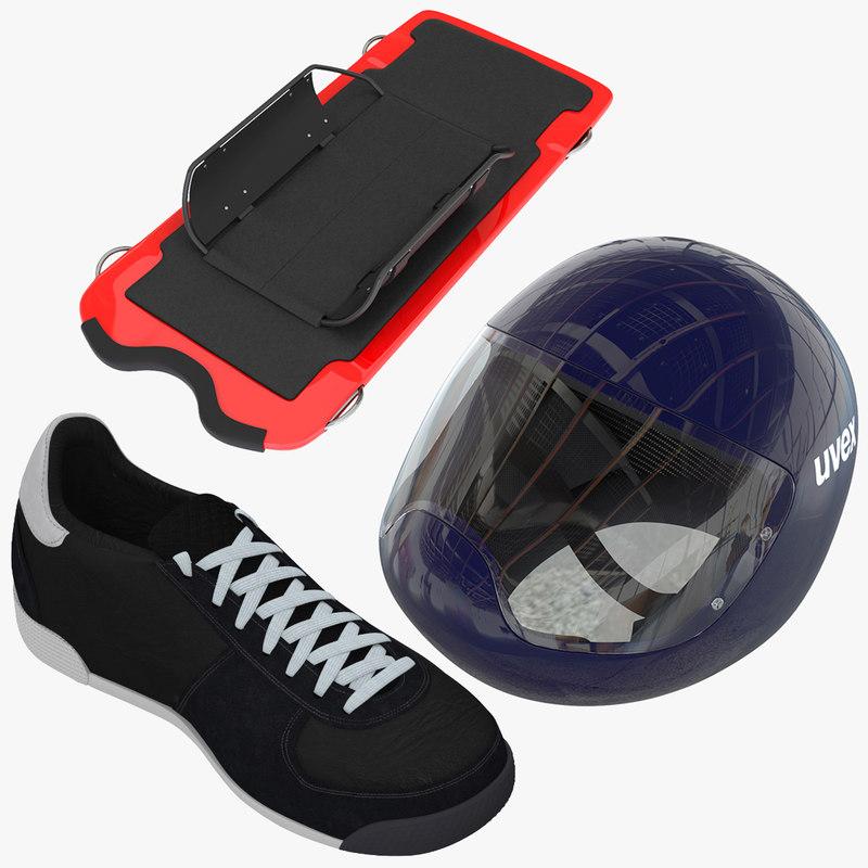 skeleton sled shoes helmet 3d model