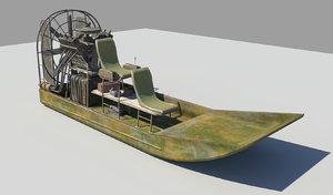 fan boat 3d obj