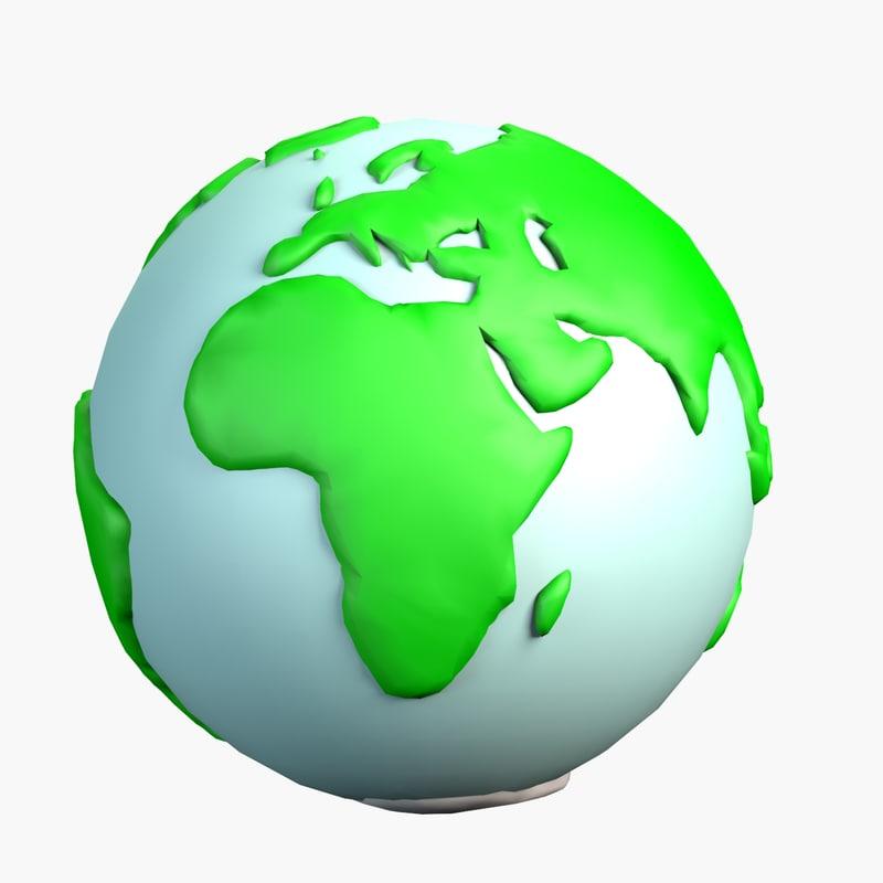 3d model cartoon stylized earth