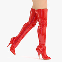 Boots High Knee Sexy Boots Red