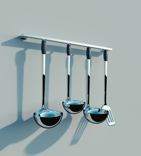 spatula spoons chrome 3d model