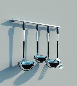 spatula spoons chrome 3d model