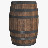 3d model of wooden barrel