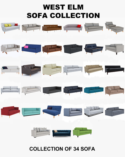 3d model of west elm sofa