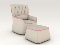 3d model livingroom armchair 1
