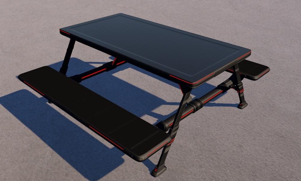 futuristic picnic table 3d c4d