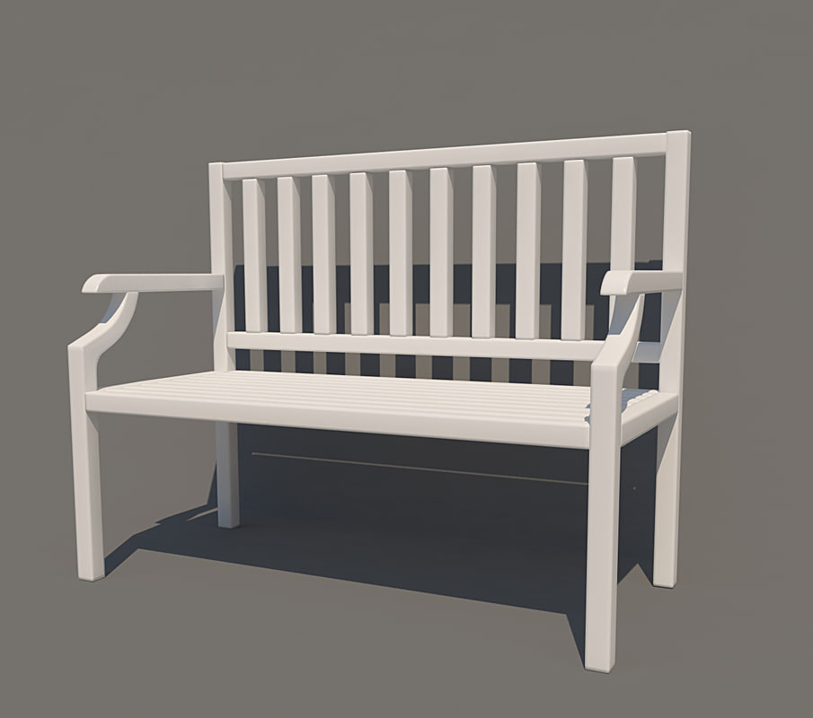 bench white 3d 3ds