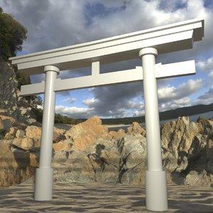 japanese torii gate 3d model