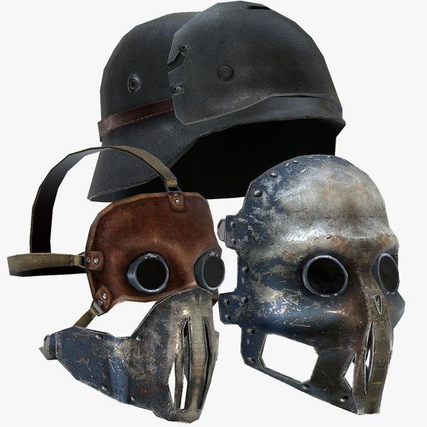 3d leather mask helmet