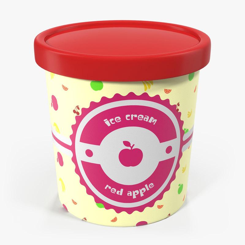 3ds ice cream pint tub