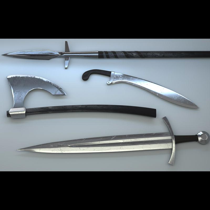 arrow battle axe 3d model