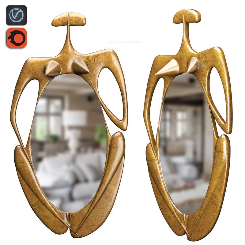 mirror golden woman 3d model