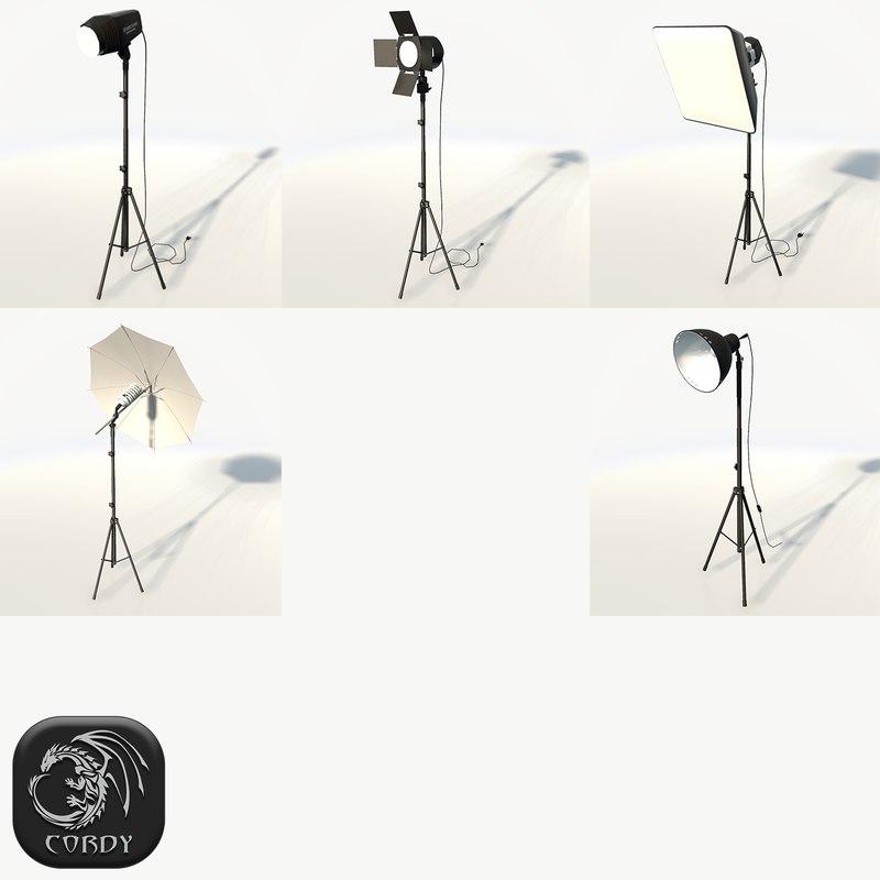 photo studio floor lamps 3d 3ds