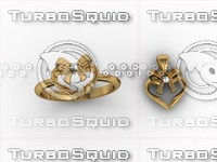 3d heart ring necklace model