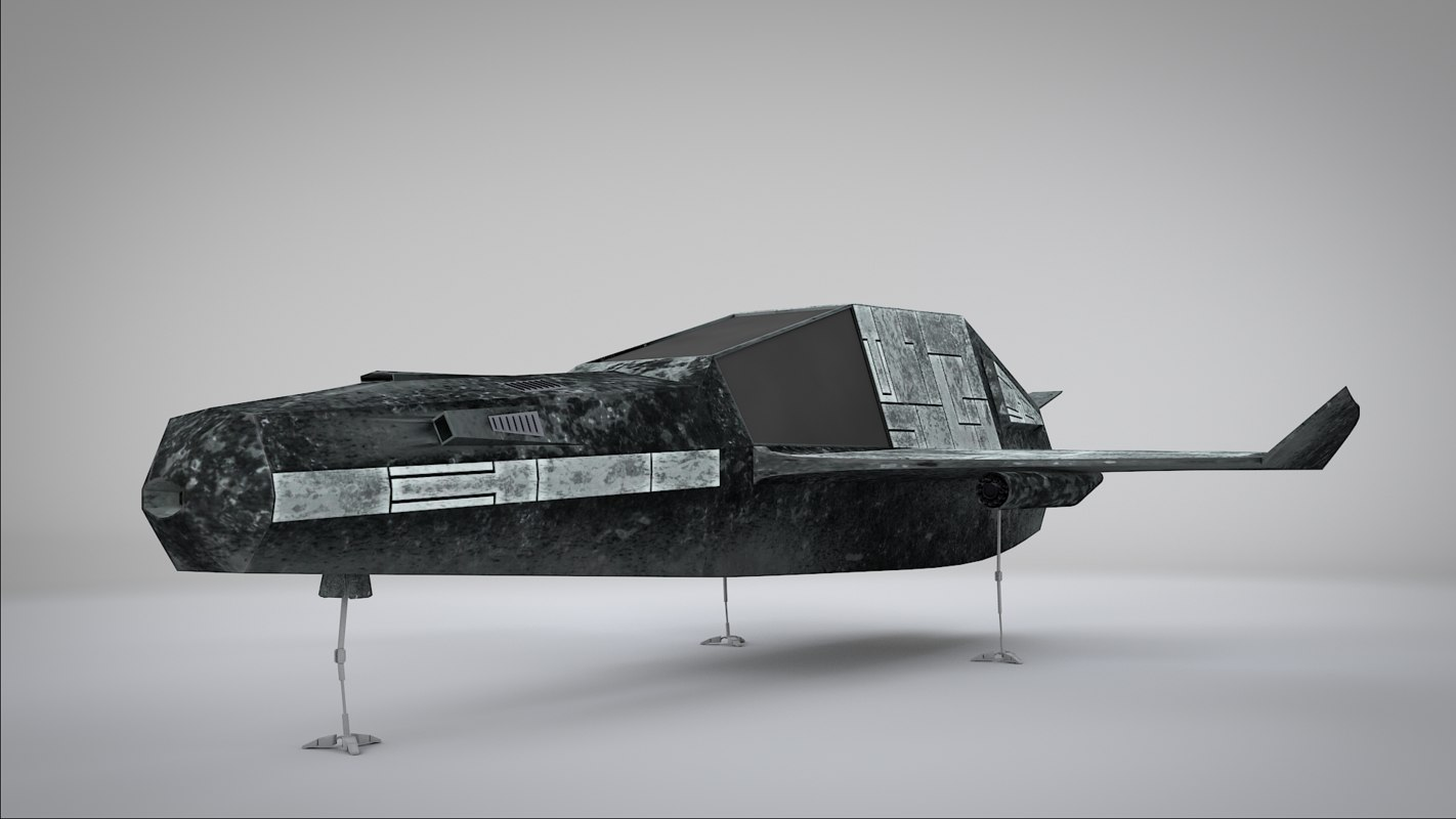 simple old battle-scarred spaceship 3ds