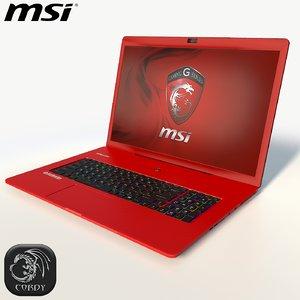 msi red laptop 3d model