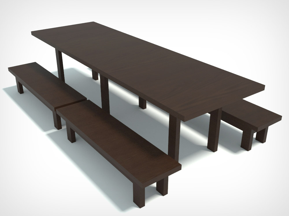 3ds wood table seats