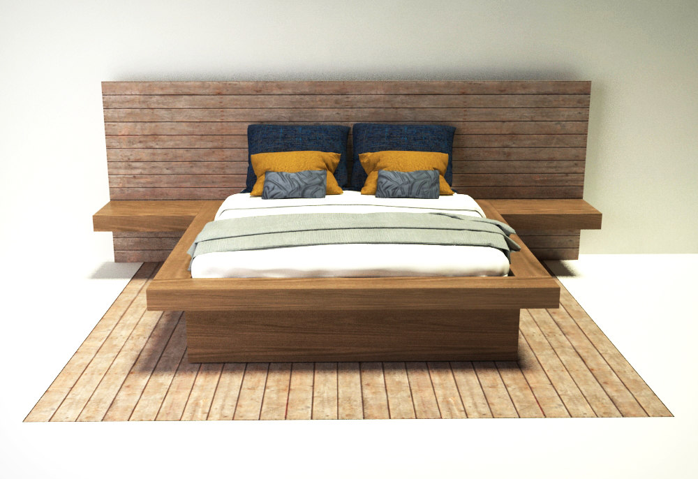 modern bed 3d 3ds