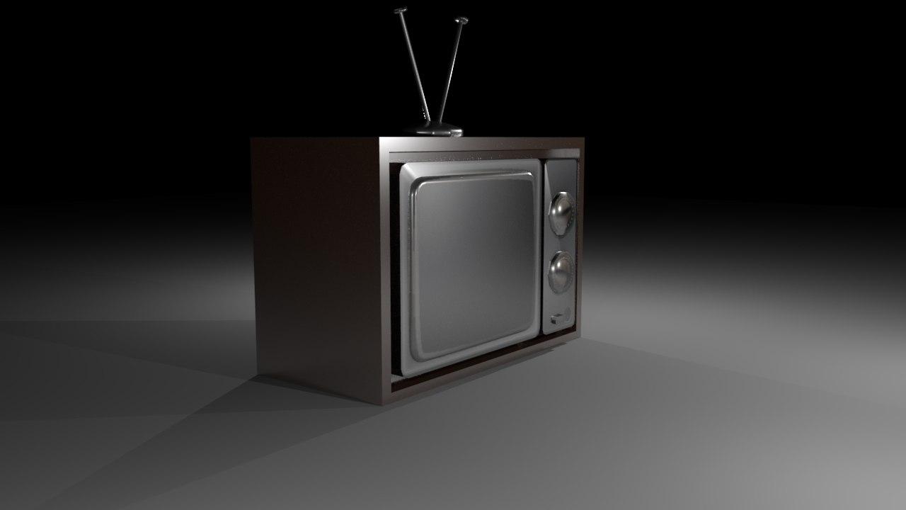old vintage television 3d fbx