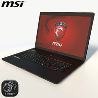 3d model of msi black laptop