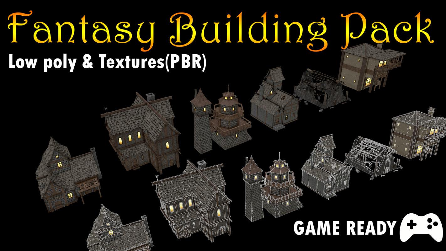 pack buildings 3d model