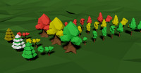 pack trees foliage polys 3d model