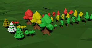 pack trees foliage polys 3d model