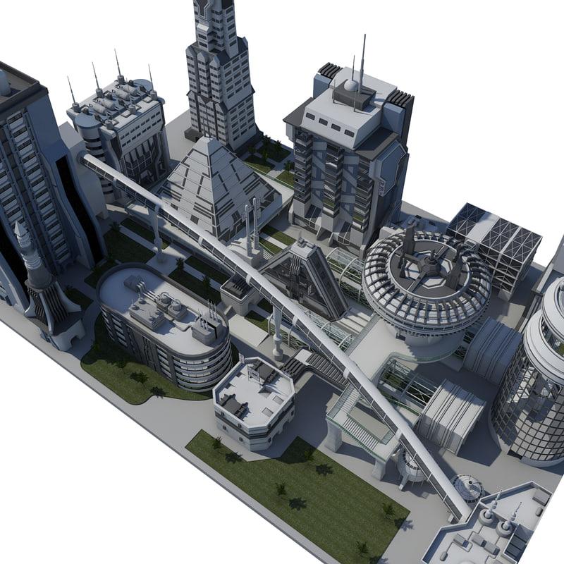3d block futuristic city model