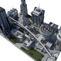 3d block futuristic city model