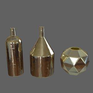 3d golden vases