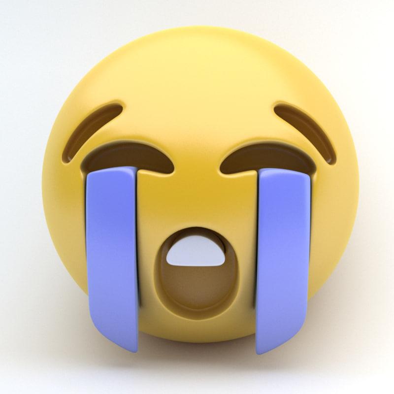 3d model emoji bawling