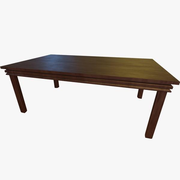 varnished wooden table 3d fbx