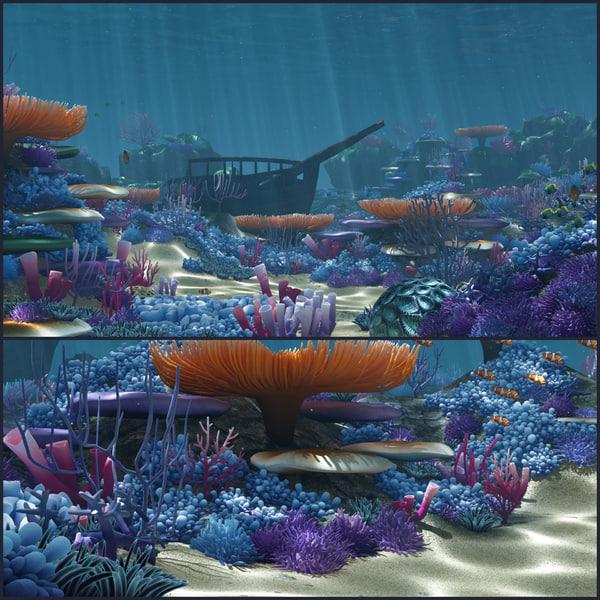 cartoon underwater fish 3d max