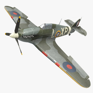 hawker hurricane weathered rigged 3d model
