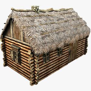 3d wooden thatch house model