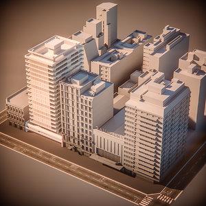 city block hotel 3d max