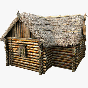 3d wooden thatch house t-shaped