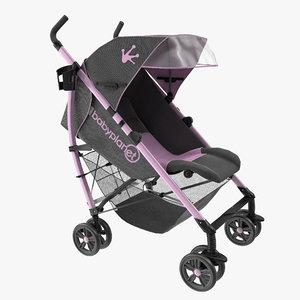 3d model baby stroller pink