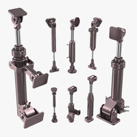anodized hydraulic cylinders set 3d model