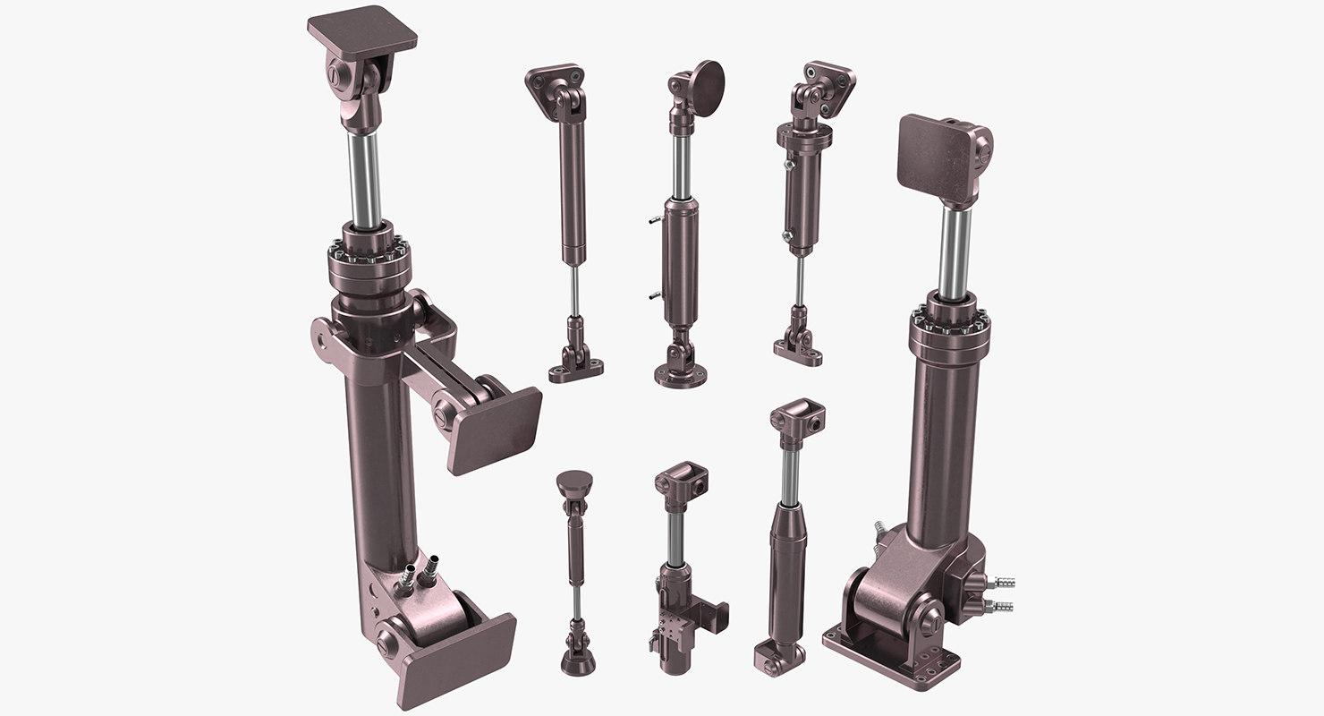 anodized hydraulic cylinders set 3d model