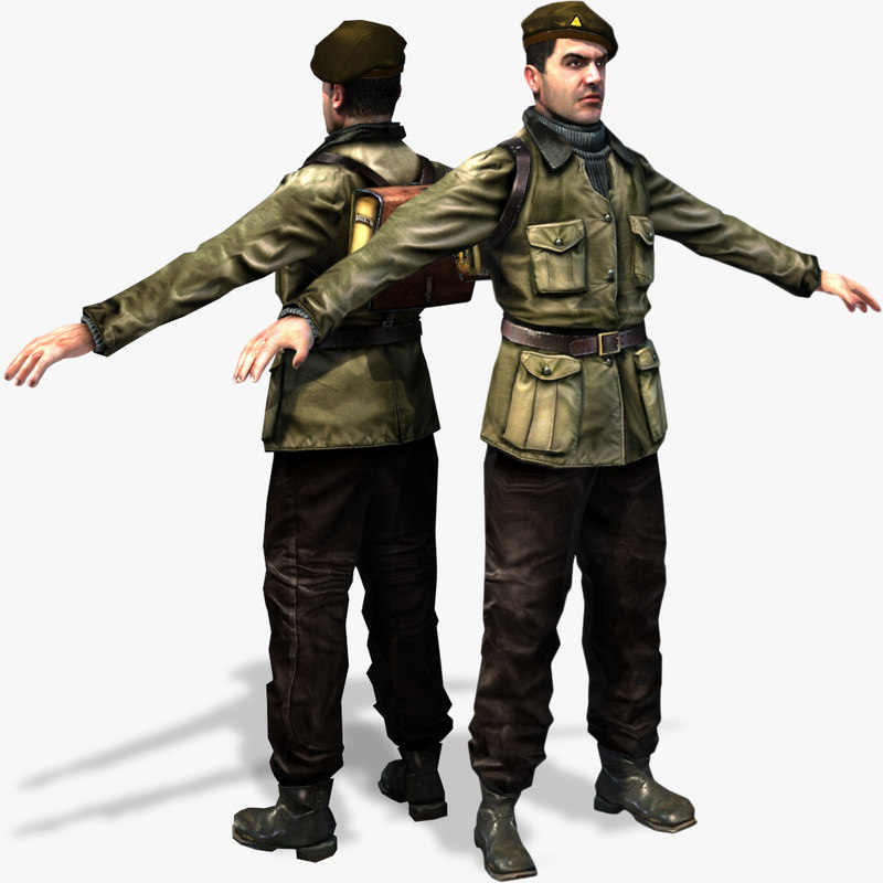 world war partisan character rigged 3d max