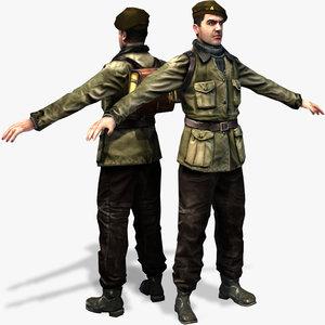 world war partisan character rigged 3d max