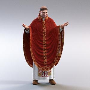 3d medieval priest