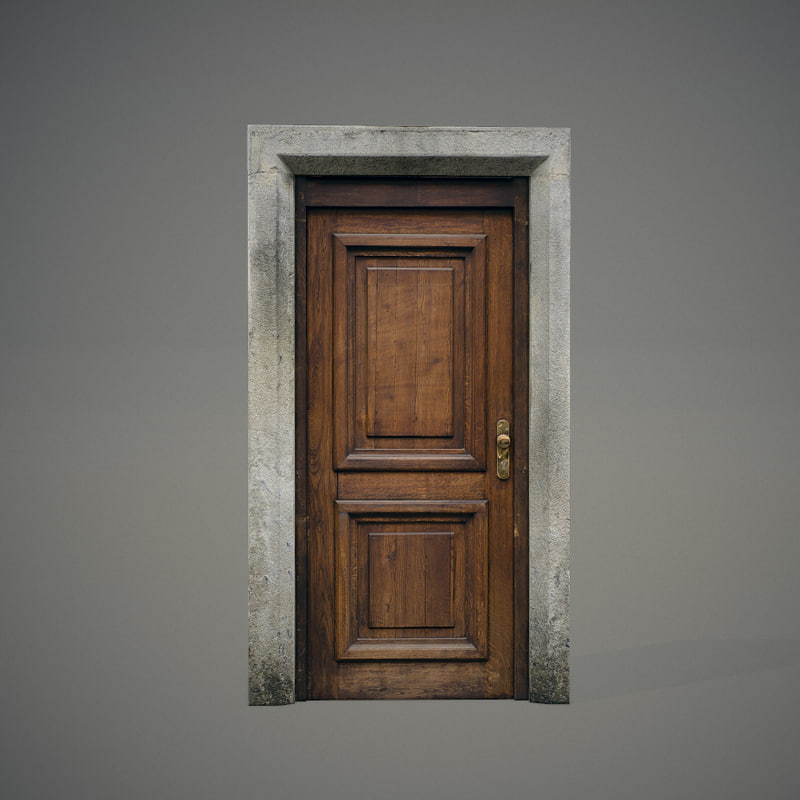 wooden door 3d obj